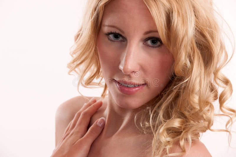 Blond woman with great hair and facial features stock photos