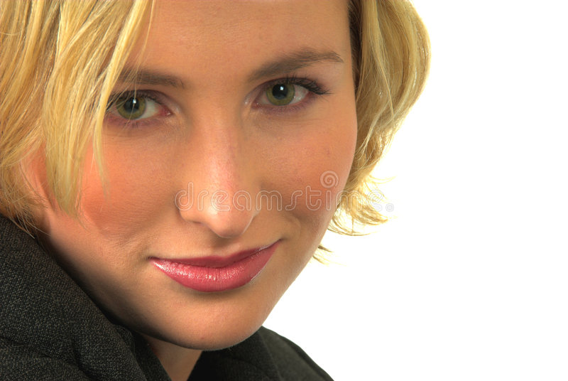 Blond woman green eyes #4. Close up of smiling blond woman with green eyes stock photography