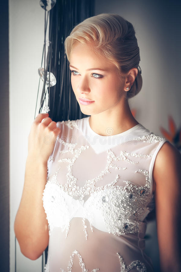 blond woman with hairstyle stock photo