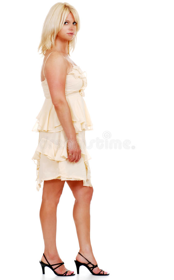 Blond woman in high heels royalty free stock images