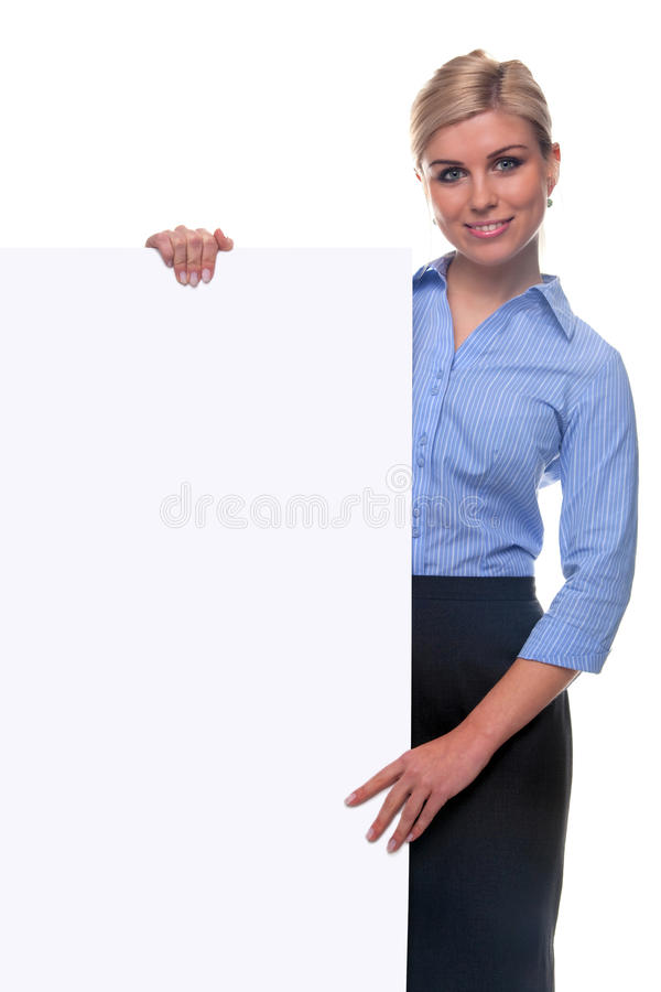 Download Blond Woman Holding A Blank Message Board. Stock Image - Image: 12085465