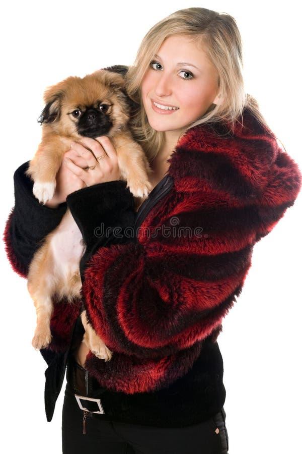 Blond woman holding a pekinese puppy stock photos