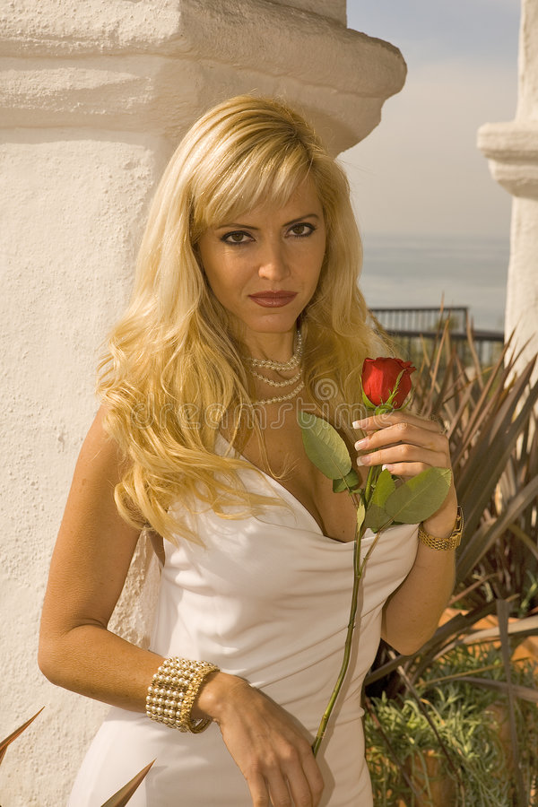 Blond Woman holding a Red Rose. In a White Dress stock photo