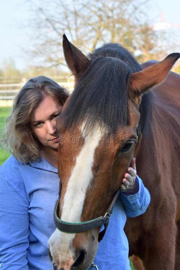 Blond woman hugs her  horse. Woman strokes her horse. The old horse enjoys it and  trustingly lays his head on her shoulder royalty free stock images