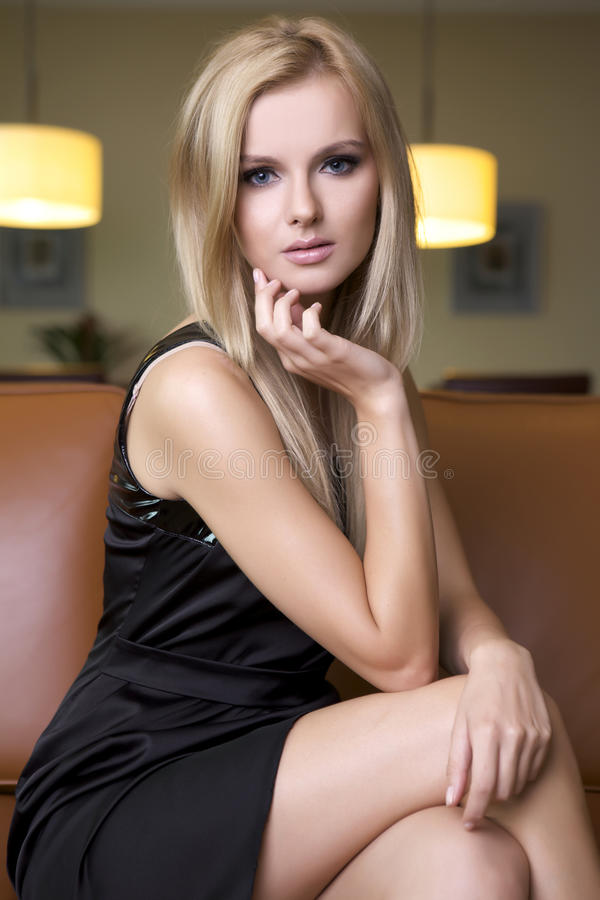 Free Blond Woman In Black Dress Stock Photography - 21350892