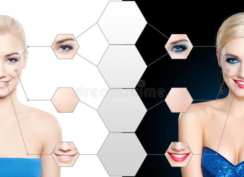 Blond woman with make up, and no make up stock photography