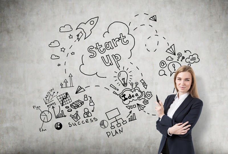 Blond woman with a marker near a startup sketch on a concrete wa. Portrait of a blond woman holding a marker and standing near a concrete wall with a startup royalty free stock photo