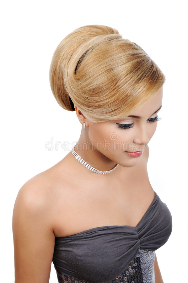 Download Blond  Woman With Modern Gloss Hairstyle Stock Image - Image: 8889829