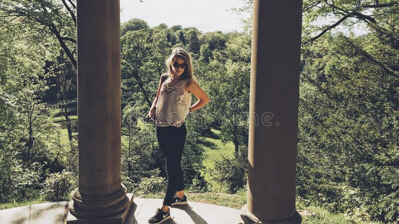 Blond Woman Poses Between Pillars Free Public Domain Cc0 Image