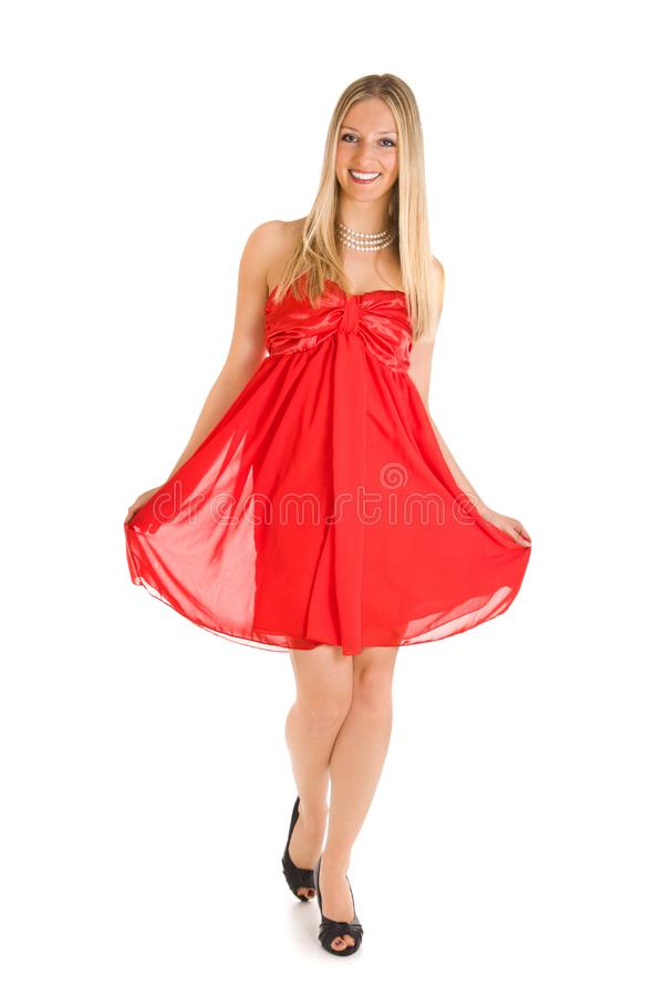 Blond woman in red dress