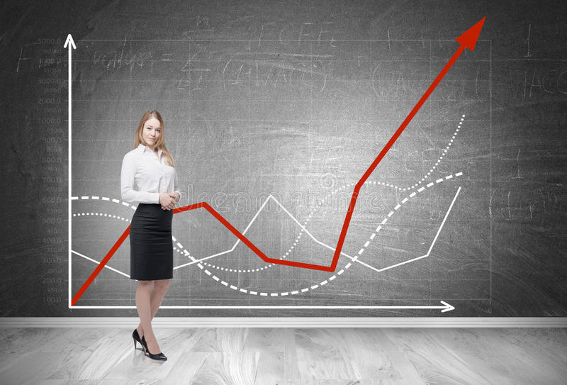 Blond woman and red and white graphs royalty free stock image