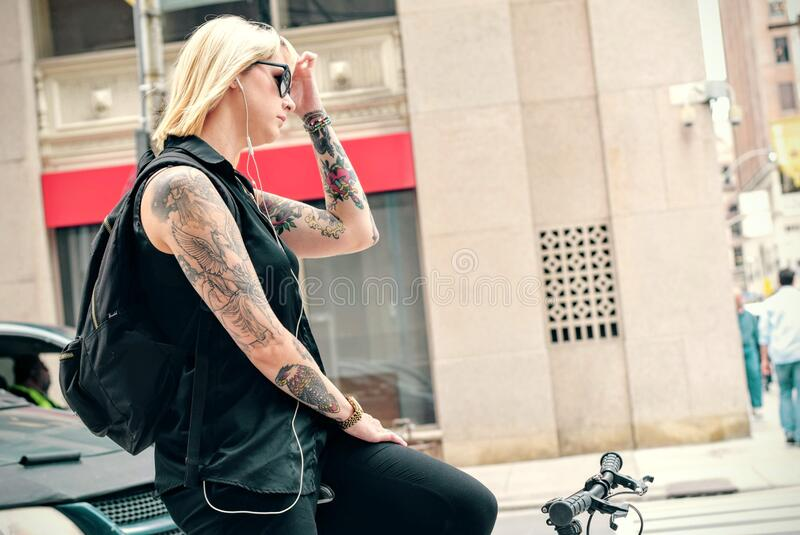 Blond Woman Riding Bicycle In City Free Public Domain Cc0 Image