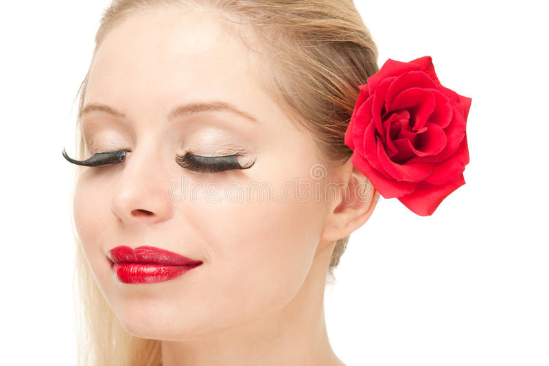 Download Blond Woman With Rose And Closed Eyes Stock Photo - Image: 20544938