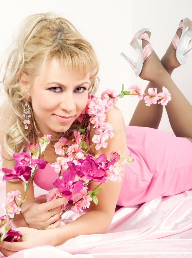 Blond Woman With Sakura Flowers Stock Photos