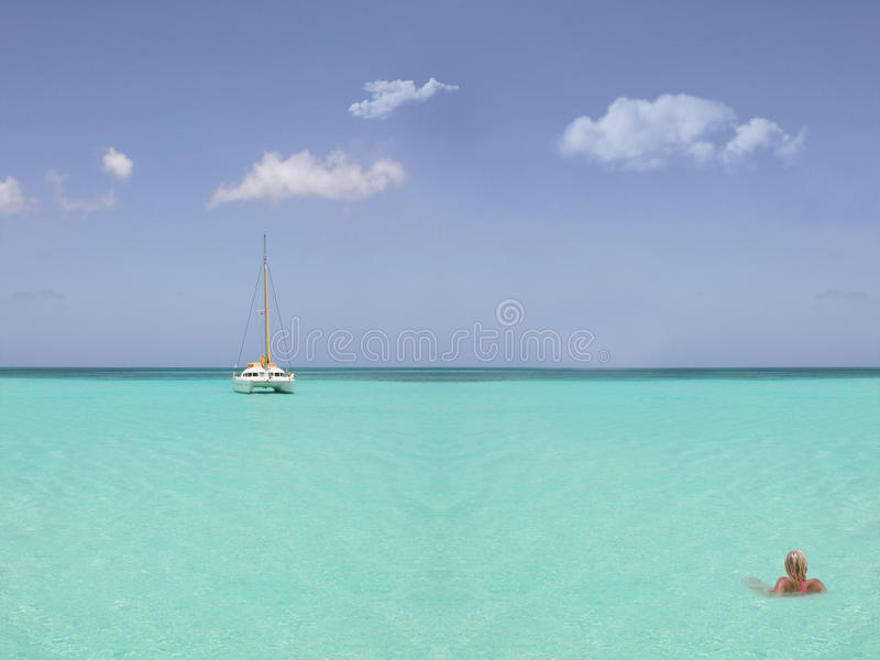 Download Blond woman in the sea stock photo. Image of caribbean - 14745400