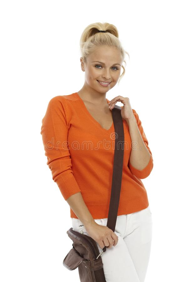 Download Blond Woman With Shoulder Bag Stock Photography - Image: 32051542