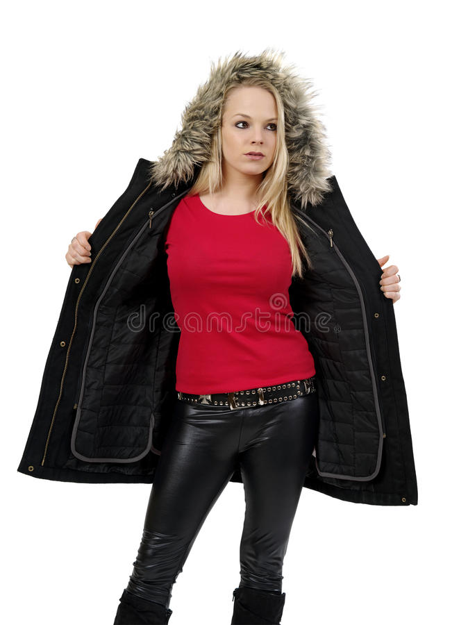 Download Blond Woman Showing Blank Red Shirt Stock Image - Image: 28627339