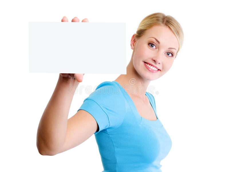 Blond woman with small blank advertising card stock photos