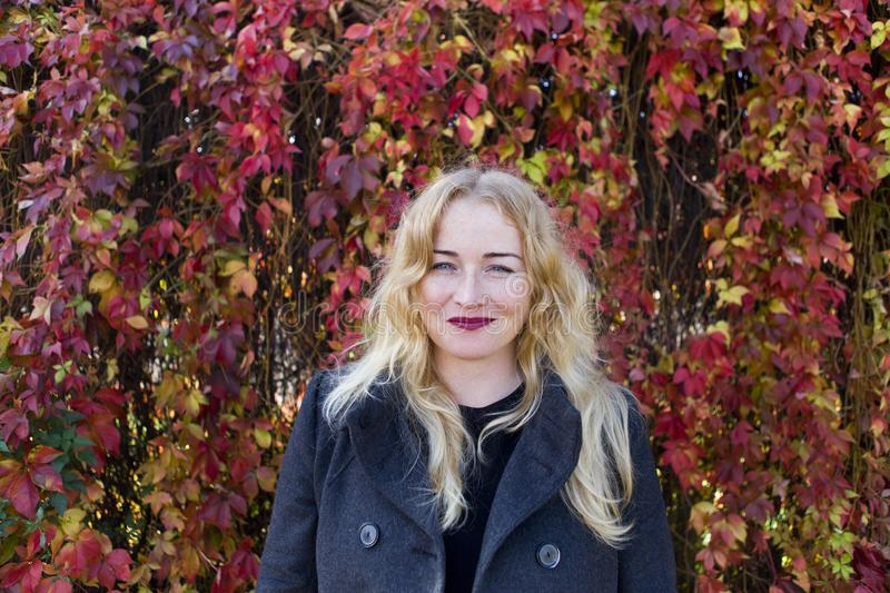 Smiling blond woman near colorful leaves stock photo