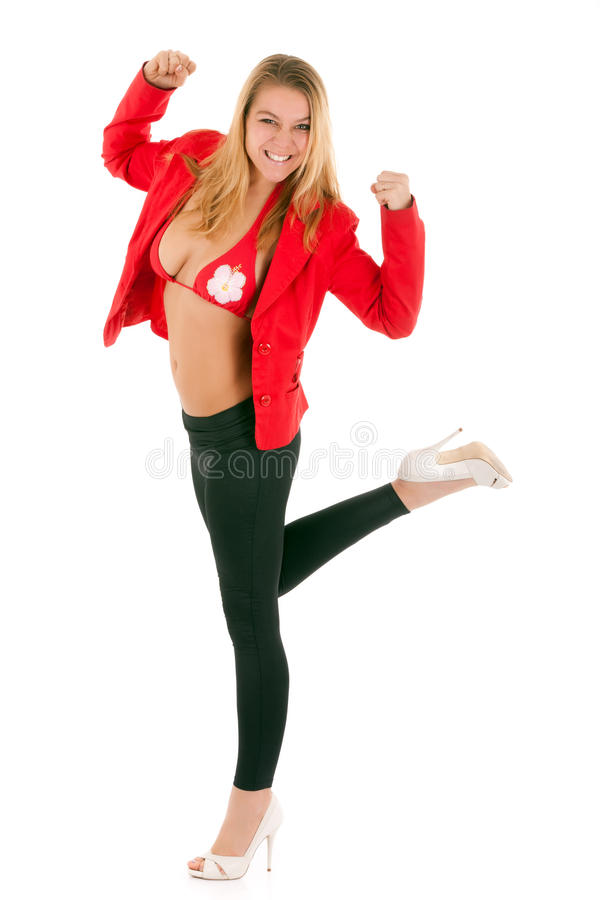 Download Blond woman success stock photo. Image of clothes, happy - 17715460