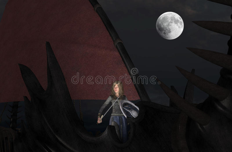 Blond woman Viking warrior with sword and shield at moonlight stock illustration