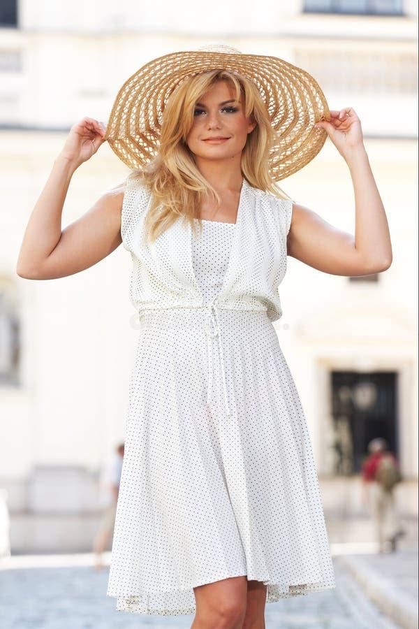 Download Blond Woman Wearing Sun Hat Stock Image - Image: 6023169