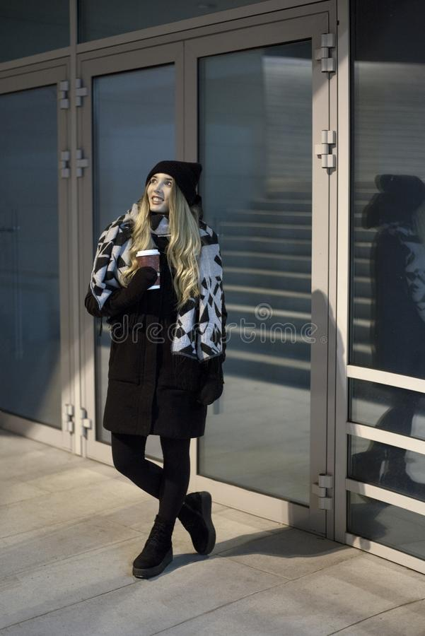 Blond woman in wintertime royalty free stock photos
