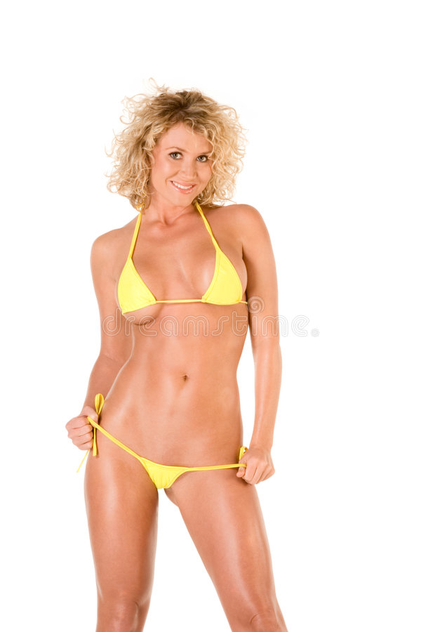 Free Blond Young Woman In Yellow Skimpy Bikini Royalty Free Stock Photography - 7992307