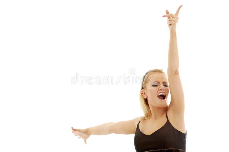 Blond zingen royalty-vrije stock foto