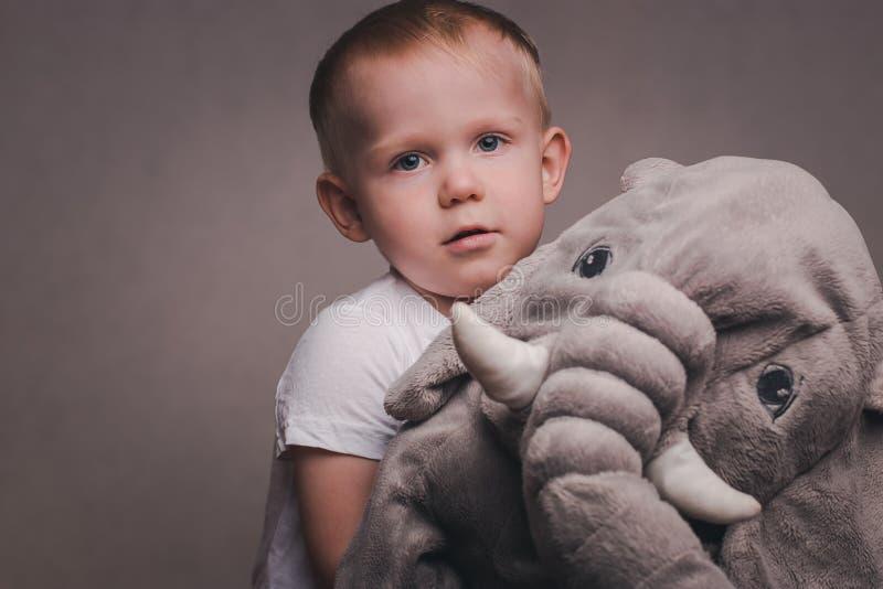 Blonda kramar för liten stilig pojke en flott elefant arkivfoton