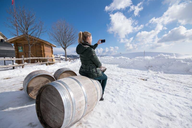 Blonda kvinnafotografier det snöig landskapet royaltyfri foto