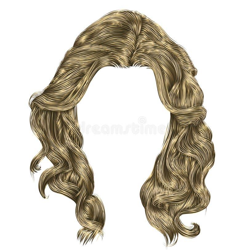 Blonda långa ljusa färger för lockiga hår vektor illustrationer