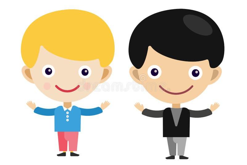 Blonda pojkar för pojketecknad filmvektor i olikt royaltyfri illustrationer