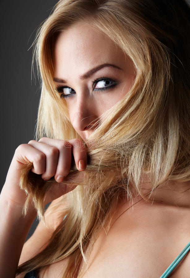 Blonde adult woman stock images