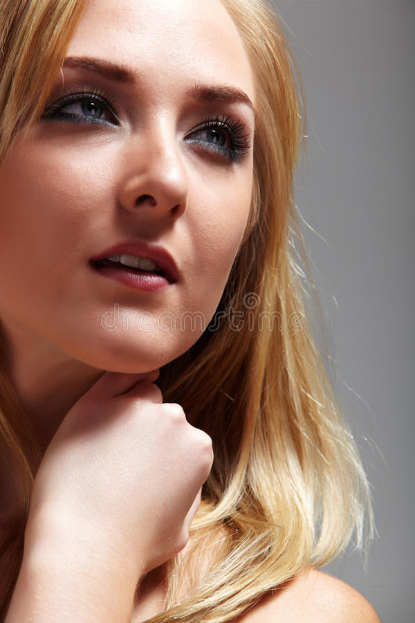 Blonde adult woman royalty free stock photo