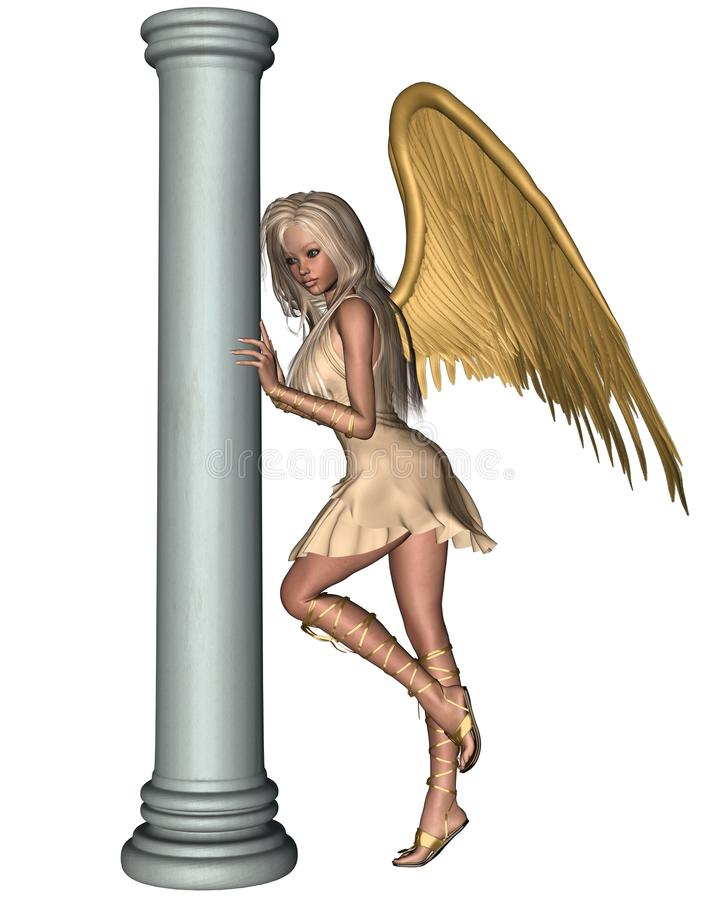 Download Blonde Angel Leaning On A Pillar - 1 Stock Photography - Image: 19646922