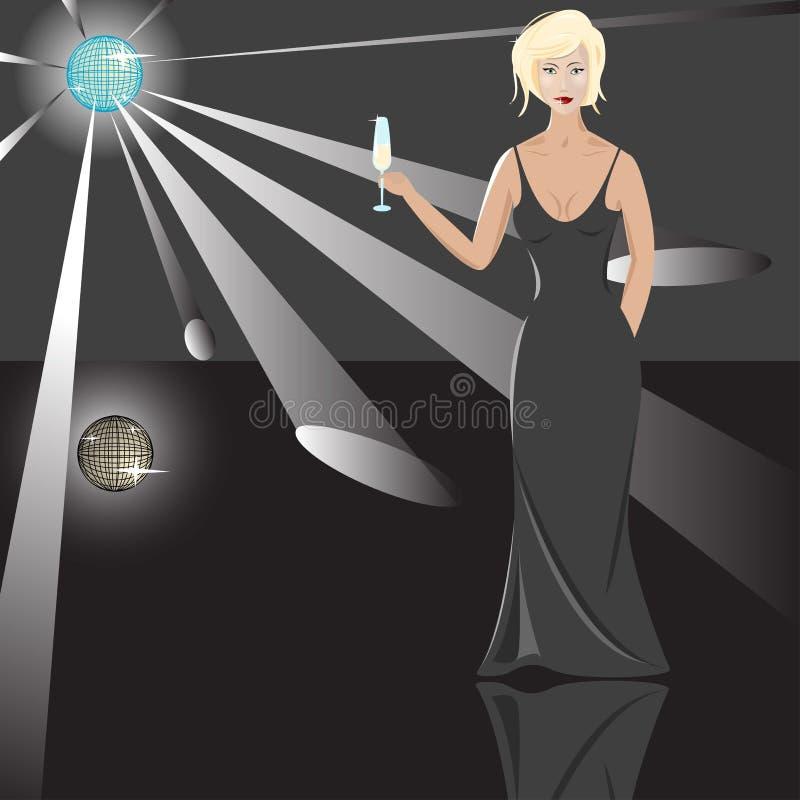 Blonde avec le gobelet illustration stock
