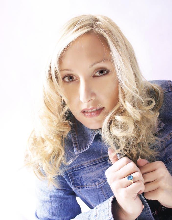 Blonde azul del dril de algodón foto de archivo libre de regalías