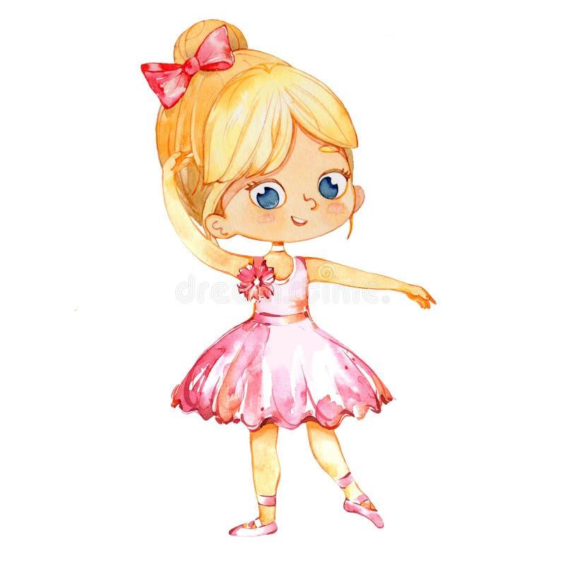 Blonde Ballerina-Prinzessin Character Dancer Girl Nette Kindermädchenabnutzung rosa Ballettröckchen-Kostüm-Training in der Schulk vektor abbildung