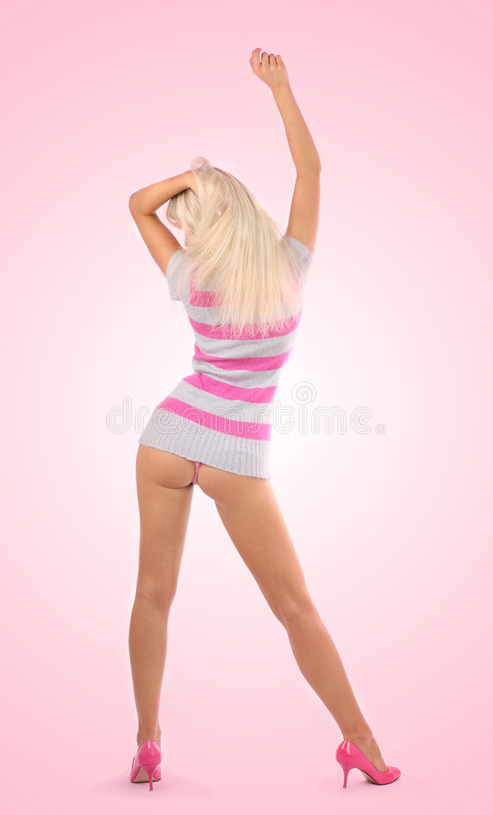Blonde with beautiful legs royalty free stock photography