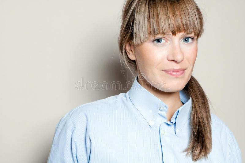 Blonde beauty woman smiling royalty free stock photo