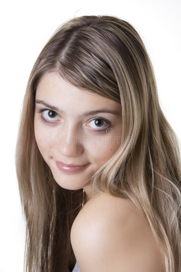 Blonde with big eyes stock photography