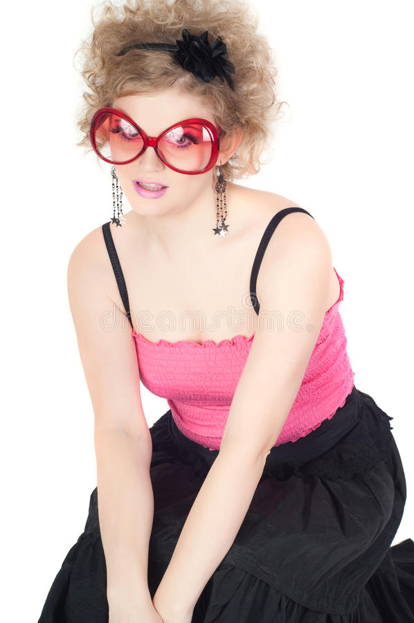 Download Blonde In Big Red Sunglasses Stock Image - Image: 30936279