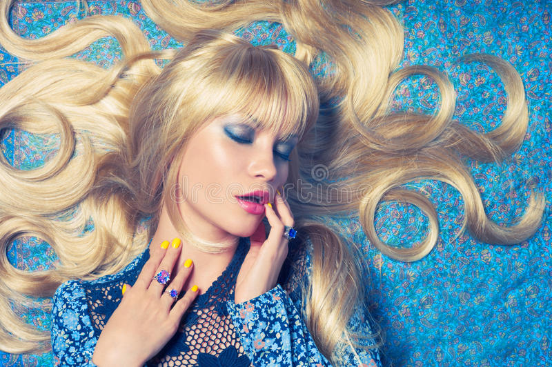 Download Blonde on Blue stock photo. Image of face, female, look - 23571282