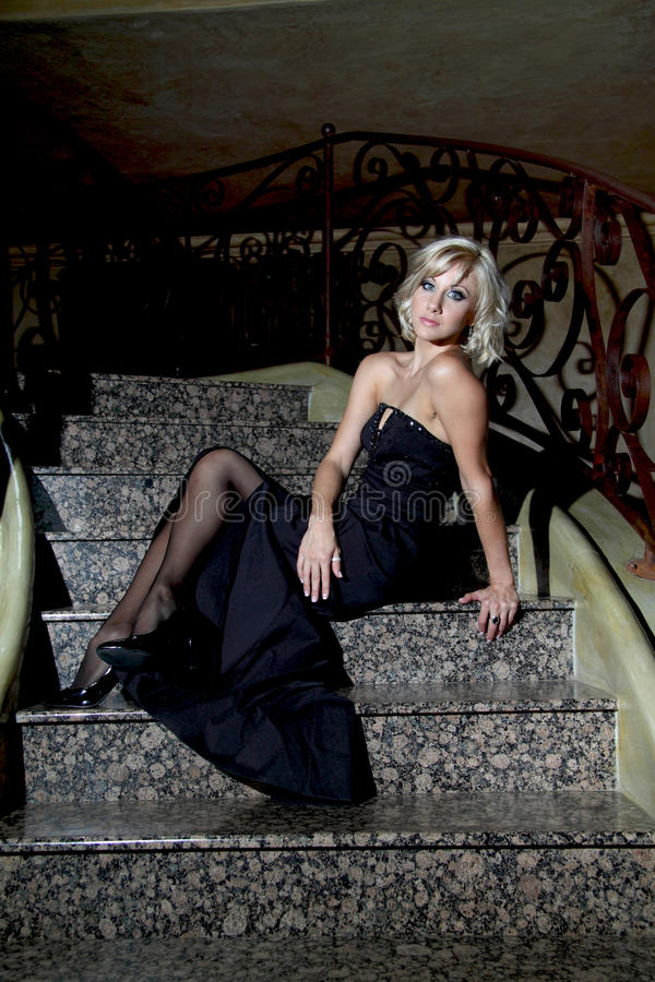 Free Blonde Blue Eyed, Glamour Model With Black Evening Dress Stock Photo - 50132210