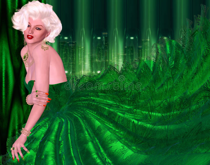 Blonde bombshell in green evening gown against matching green abstract background. royalty free illustration