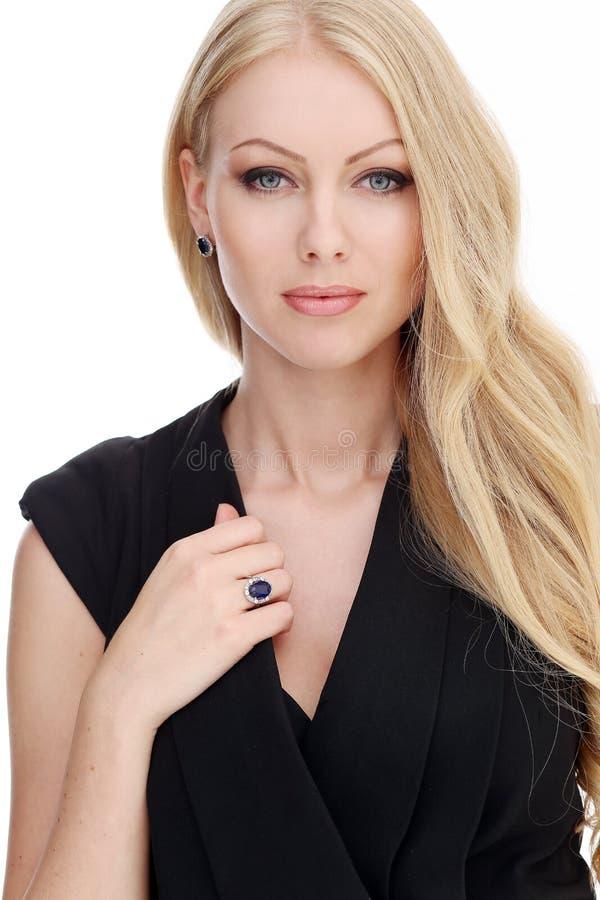 blonde bonito com cabelo curly fotografia de stock