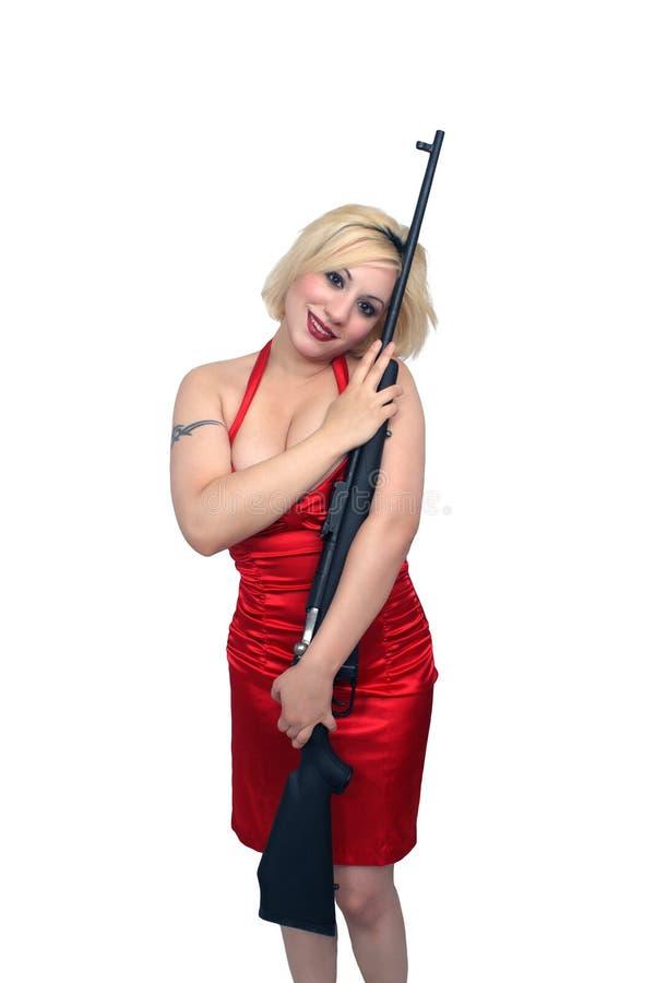 Blonde bonito com rifle militar (1) imagem de stock royalty free