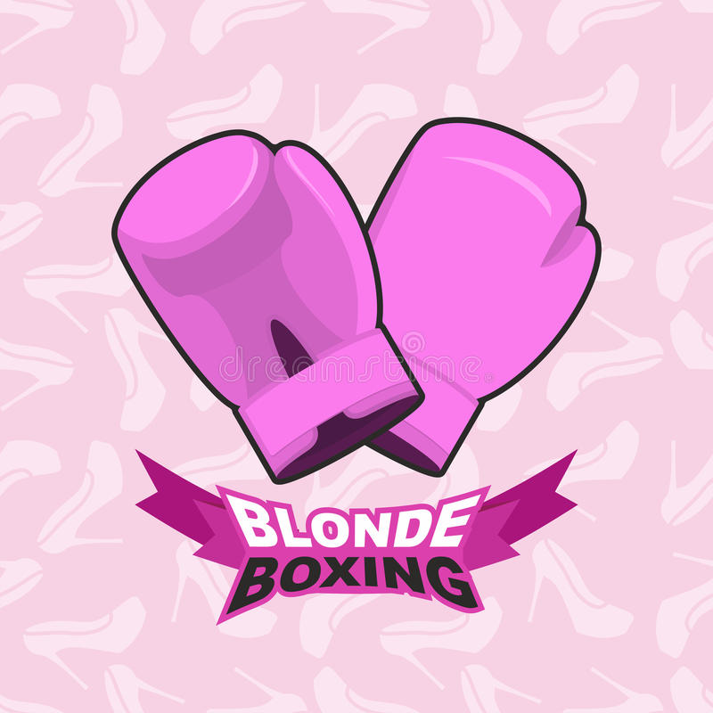 Blonde boxing. logo for comic female boxing. Pink boxing gloves. Blonde boxing. logo for comic female boxing stock illustration
