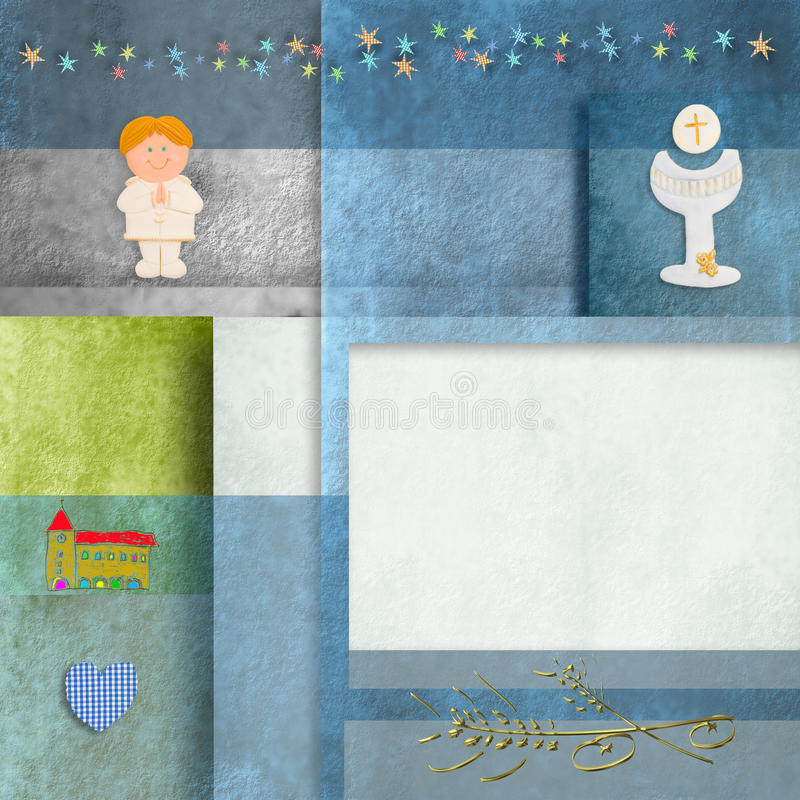 Download Holy Communion Cards Blonde Boy And Copy Space Stock Illustration - Image: 29741198